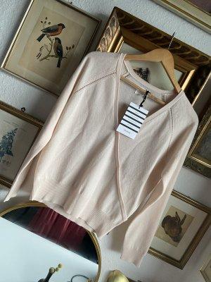 Sezane Kaszmirowy sweter kremowy-różany