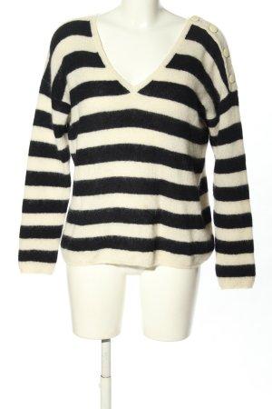 Sezane V-Ausschnitt-Pullover wollweiß-schwarz Streifenmuster Casual-Look