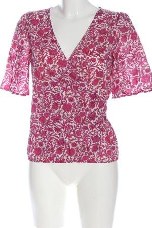 Sezane Blouse portefeuille rose-blanc imprimé allover style décontracté