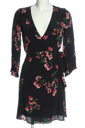 Sezane Wickelkleid schwarz Blumenmuster Elegant