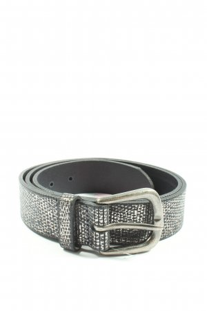 SF Cinturón de cuero negro-blanco estampado repetido sobre toda la superficie