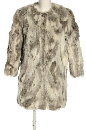 Sfera Fur Jacket cream-light grey abstract pattern casual look