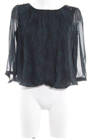 Sfera Langarm-Bluse petrol-schwarz Punktemuster Casual-Look