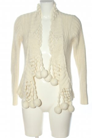 Sfera Knitted Cardigan natural white cable stitch casual look