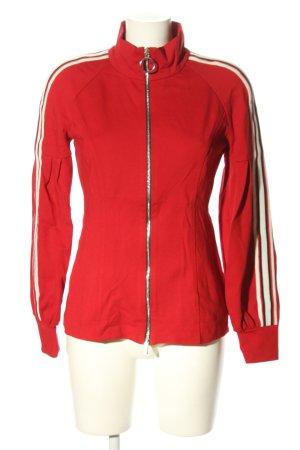Sfizio Sweatjacke rot-wollweiß Streifenmuster Casual-Look