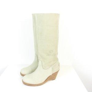 Shabbies amsterdam Platform Boots light grey leather