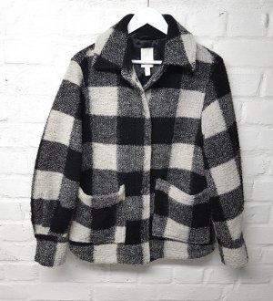 Shacket Blusenjacke Jacke kariert Wollmix Schwarz Weiß H&M Oversize Insta Gr. S/ 36