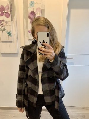 Shacket Jacke kariert Flanell grau schwarz lila Karo