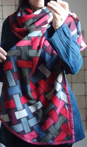 Shalls Barcelona Wollen sjaal baksteenrood-cadet blauw Wol