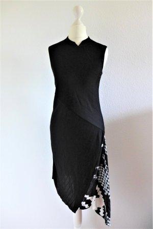Shanghai Tang Kleid Asia China Qipao schwarz weiß Gr. 36 S