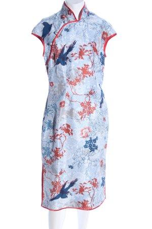 Shanghai Tang Kurzarmkleid blau-rot Allover-Druck Elegant