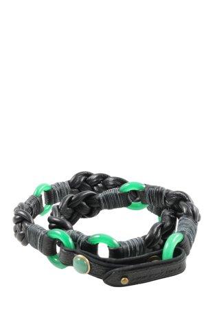 Shanghai Tang Ledergürtel schwarz-grün Casual-Look