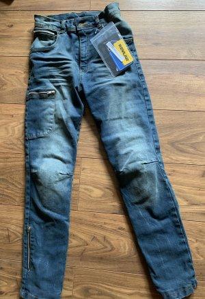 Jeans de moto bleu acier