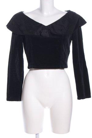 She Carmen-Bluse schwarz Blumenmuster klassischer Stil