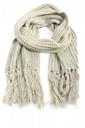 She Fringed Scarf natural white cable stitch casual look