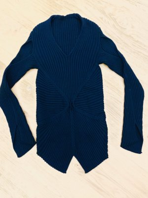 She's So Lang pullover schwarz 100% Merinowolle Strick Cardigan langarm asymmetrisch Gr. 36-38/S-M