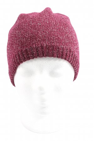 She Knitted Hat red-white flecked casual look