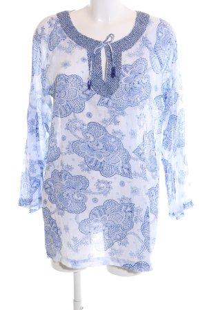 She Tunikabluse blau-weiß Allover-Druck Casual-Look