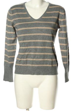 She V-Ausschnitt-Pullover hellgrau-creme meliert Casual-Look