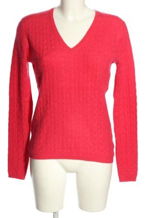 She V-Ausschnitt-Pullover pink Zopfmuster Casual-Look
