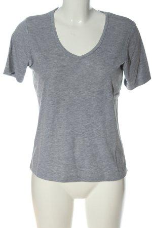 She Camisa con cuello V gris claro moteado look casual