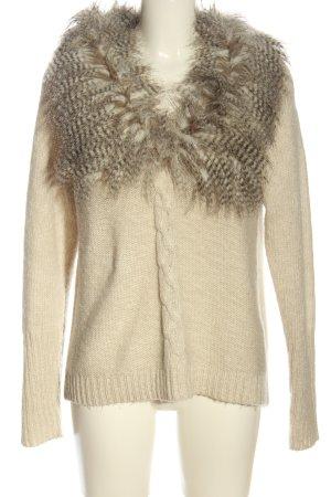 She Warkoczowy sweter kremowy-brązowy Melanżowy W stylu casual