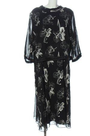 Sheego Abendkleid schwarz-weiß Allover-Druck Elegant