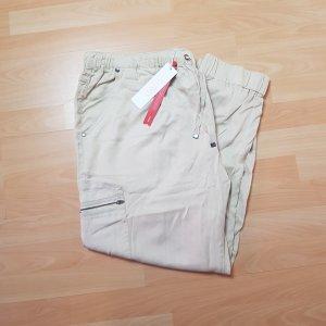 Sheego Pantalon cargo argenté-beige clair lyocell