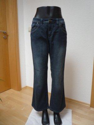 Sheego Damen Bootcut Jeans MAILA Gr. 22, dark blue Denim