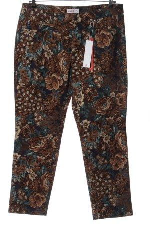 Sheego Pantalone cinque tasche marrone-blu stampa integrale elegante
