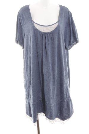 Sheego Jerseykleid blau meliert Casual-Look