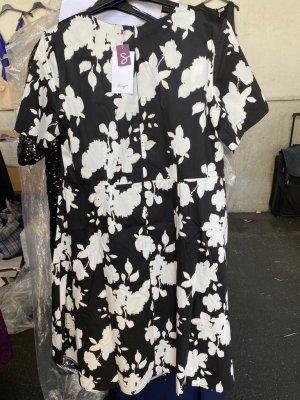 sheego Kleid mit Formendem Innenkleid zum Herausknöpfen Gr. 58 schwaz- weiß