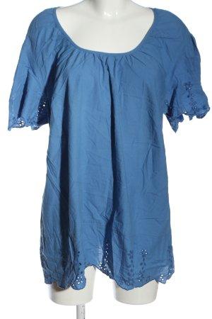 Sheego Kurzarm-Bluse blau Casual-Look
