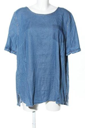 Sheego Kurzarm-Bluse blau meliert Casual-Look
