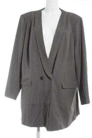 Sheego Long-Blazer grau-weiß Business-Look