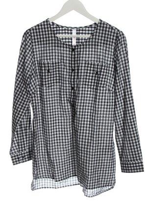 Sheego Blouse longue noir-blanc motif à carreaux style décontracté