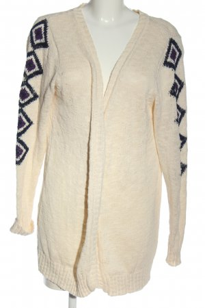 Sheego Strick Cardigan creme-blau grafisches Muster Casual-Look