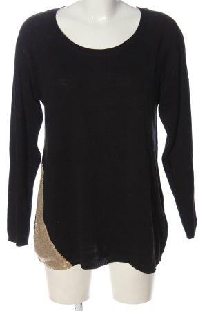 Sheego Maglione lavorato a maglia nero-oro stile casual