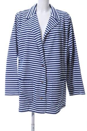 Sheego Sweatblazer blau-weiß Streifenmuster Casual-Look