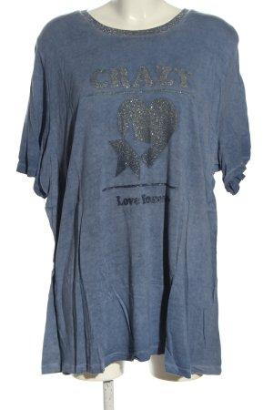 Sheego T-Shirt blau-silberfarben Motivdruck Casual-Look