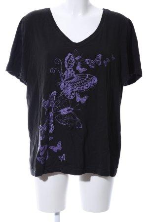 Sheego T-Shirt schwarz-lila Motivdruck Casual-Look