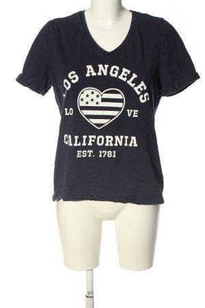 Sheego T-Shirt blau Schriftzug gedruckt Casual-Look