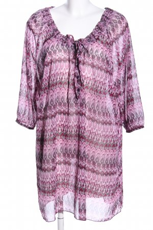 Sheego Transparenz-Bluse pink abstraktes Muster Casual-Look
