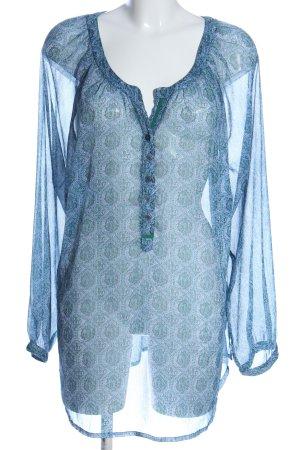 Sheego Transparenz-Bluse blau-weiß Mustermix Casual-Look