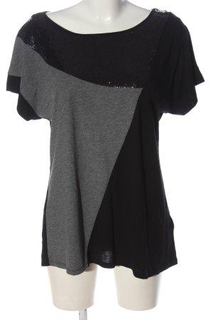 Sheego Koszulka z dekoltem w łódkę czarny-jasnoszary W stylu casual