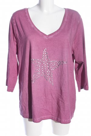Sheego V-Neck Shirt pink-silver-colored themed print casual look