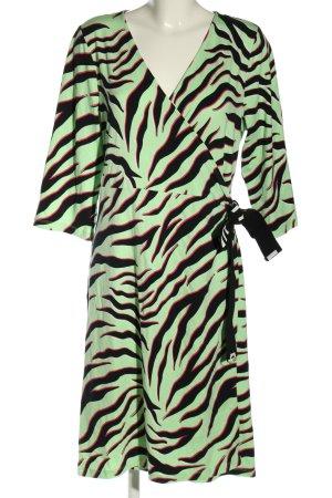 Sheego Robe portefeuille vert-noir imprimé allover style décontracté