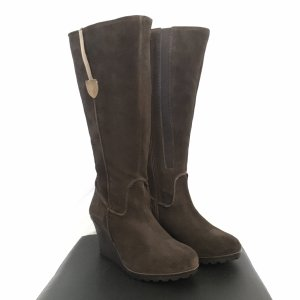Sheego Wide Calf Boots dark brown-camel leather