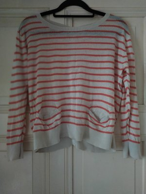 COS Crewneck Sweater natural white-bright red cotton