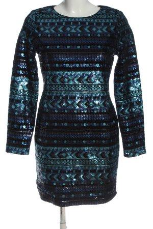 SheIn Abendkleid blau-türkis grafisches Muster Elegant